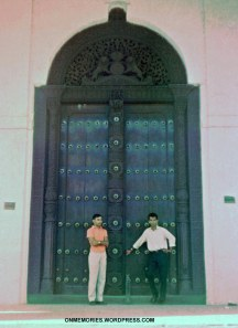 Dick-Dick and Eddie in front of Zanzibar door, July 5, 1964.
