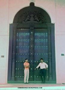Dick-Dick and Eddie in front of Zanzibar door, July 5, 1964.