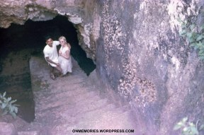 Dick-Dick and Shannon Moeser descending into slave cave, July 7, 1964.
