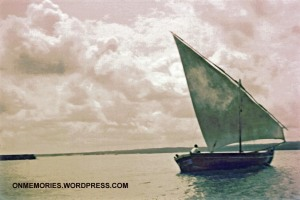 A photo of a dhow taken on the way to Prison Island.  Photograph taken July 6, 1964.